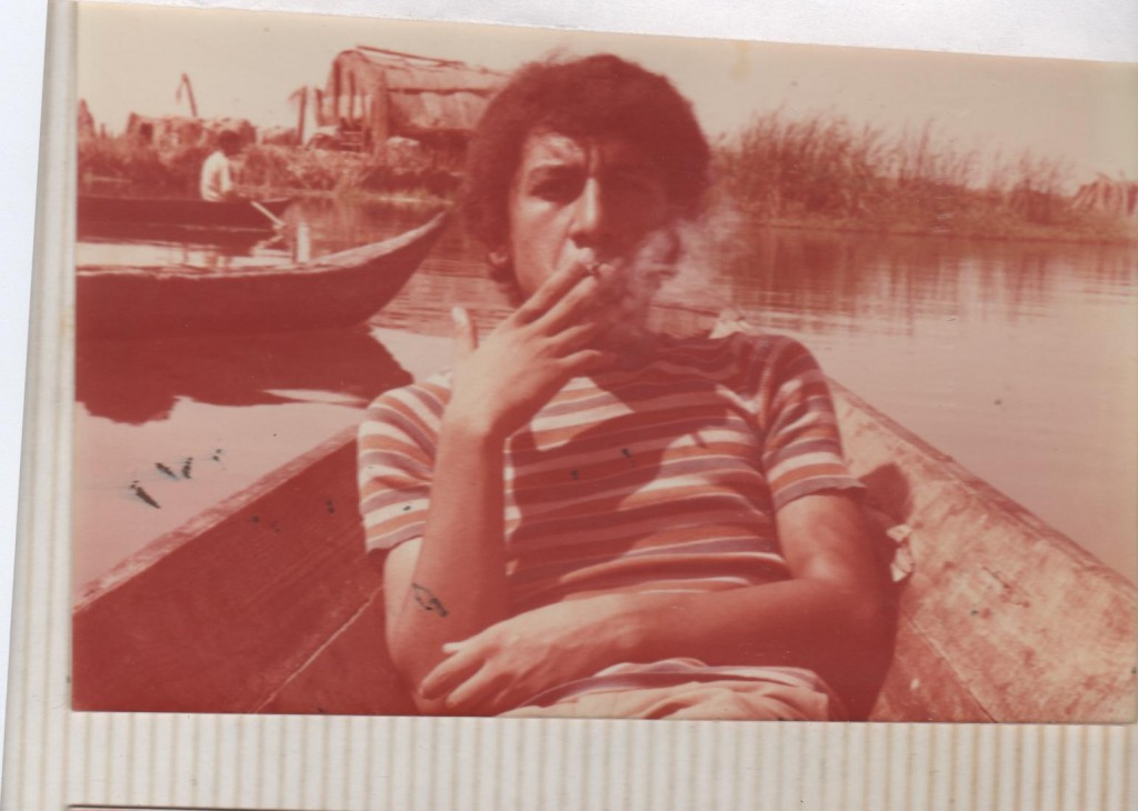 Najem Wali on a trip through the Marshes Suhain in South of Iraq, 1977